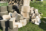 pile of logs ready for chopping