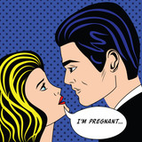 Man and pregnancy woman in vintage popart comic style