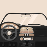 Vehicle interior. Inside car. Vector cartoon illustration
