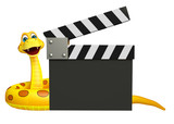 fun Snake cartoon character with clapboard