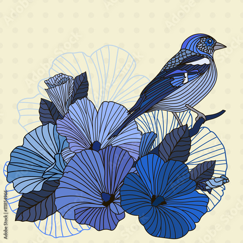 Plakat Vintage vector illustration of a bird with flowers