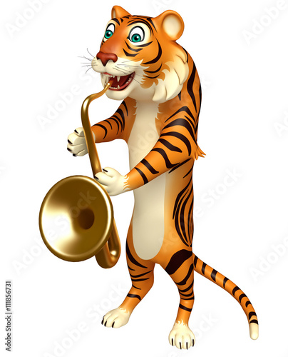Staande foto Kinderkamer cute Tiger cartoon character with saxophone