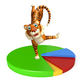 cuteTiger cartoon character with pie sign