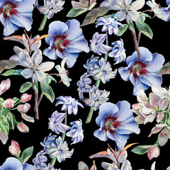 Seamless pattern with flowers on a black background. Blossom. Hyacinth. Watercolor.