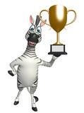 Zebra cartoon character with winning cup