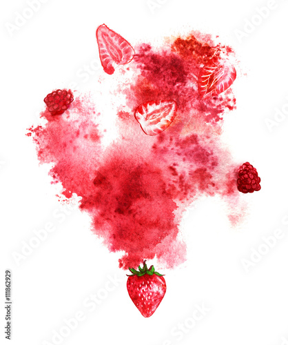 Juicy berries and red splash on white background. Hand-painted watercolor illustration - 111862929