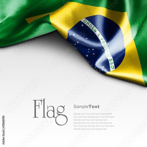 Plakat Flag of Brazil on white background. Sample text.