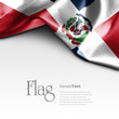 Flag of Dominican Republic on white background. Sample text.