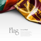 Flag of Sri Lanka on white background. Sample text.