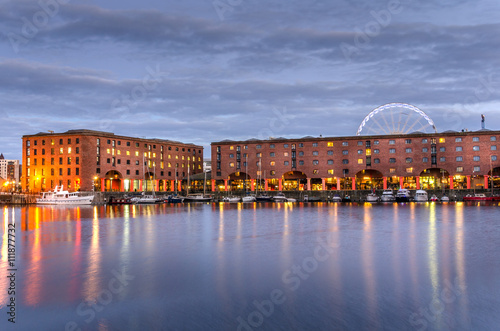 Night View of Albert Dock in Liverppol Poster