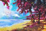 Fototapety pink trees on the beach,summer,landscape illustration