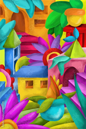 Tuinposter Klassieke abstractie colorful houses and terraces