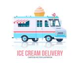 Ice cream truck. Vector ice cream vagon. Delivery service. Flat illustration.