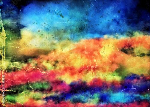 Retro kolorowe tło w bajkowe chmury