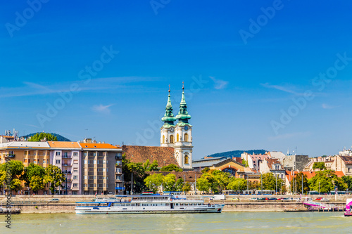 Poster buildings of Budapest on Danube