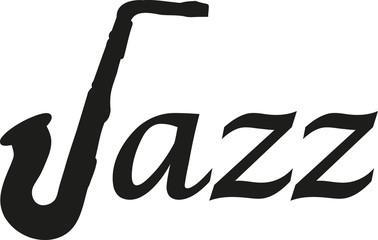 Jazz word with Saxophone