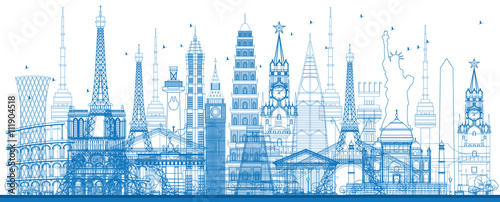 Outline world famous landmarks. Vector illustration. - 111904518