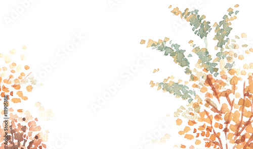 autumn red leaves watercolour background copy space