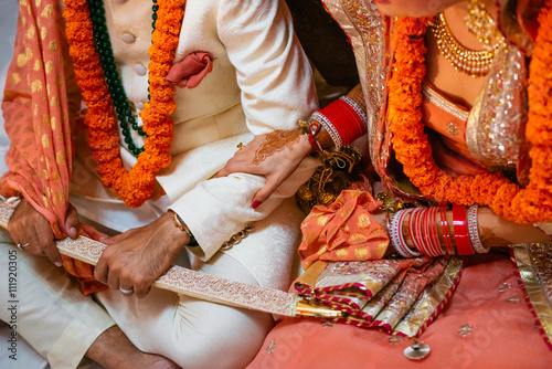 NEW DELHI, INDIA - December 8, 2015: Details of groom's and bride's wedding attributes