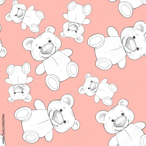 Fototapeta Cute teddy. Seamless pattern. Background for design 3