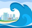 Постер, плакат: Tsunami colored picture vector A huge wave rolls on coast On the shore stands the city A natural disaster