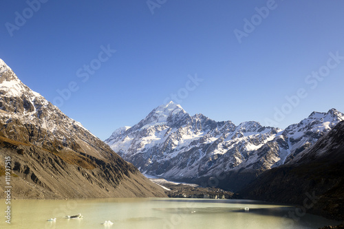 Poster New Zealand scenic mountain landscape shot at Mount Cook National Park