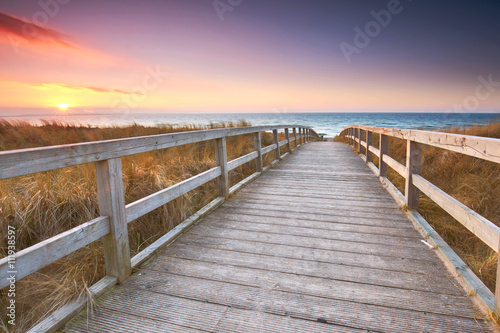 Weg durch die Dünen zum Strand Poster