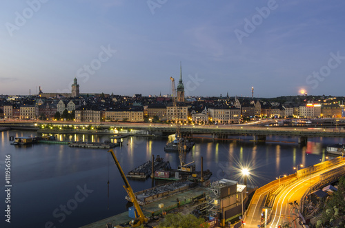 Aluminium Panorama view of the Old Town Gamla Stan in Stockholm, Sweden
