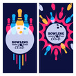 Постер, плакат: Bowling backgrounds icons and elements for banner poster flyer label design Abstract vector illustration of bowling game Colorful bowling ball bowling pins on black background
