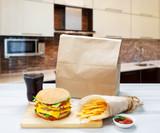Fast food take away. Hamburger, cola and fries.