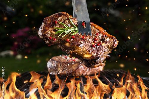 Fototapeta Beef steak on grill