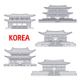 Five grand palaces of South Korea thin line symbol