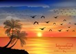 Photo of sunset on ocean for birds migratory day
