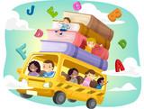 Fototapety Stickman Kids School Bus