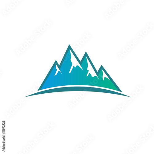 Foto op Canvas Wit Peak Mountains logo. Vector graphic design