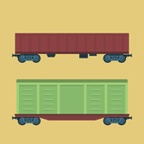 Boxcar. Freight railroad car. Container, tank railway carriage. Simple, flat style. Graphic vector illustration.
