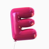 Fototapety Letter E. Balloon font isolated on White Background.