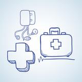 Medical care design. sketch  icon. Flat illustration
