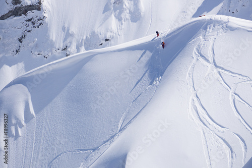 Snowboard freeride, snowboarders and tracks on a mountain slope Poster