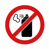Black aerosol spray can icon on white background. No aerosol Graffiti spray can sign icon. Aerosol paint symbol.