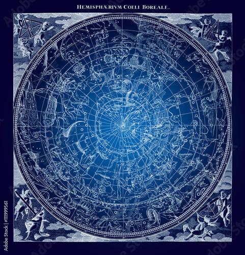 Blue Boreal Constellations Illustration