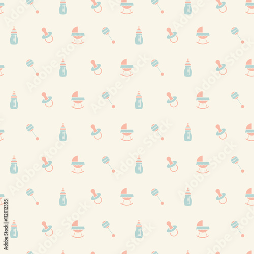 obraz PCV Baby seamless toys pattern. Design for fabric, web background, wallpaper, cards, prints of baby's goods.Vector illustration.