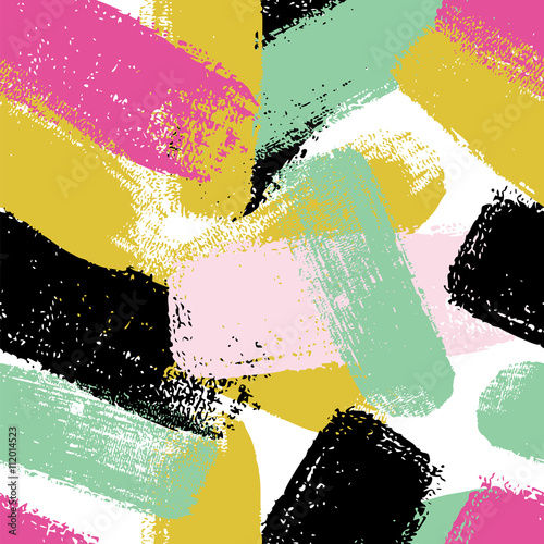 Hand drawn seamless pattern with  brush strokes in pastel colors.  - 112014523