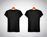 Men black T-shirt. Realistic mockup. Short sleeve T-shirt templa