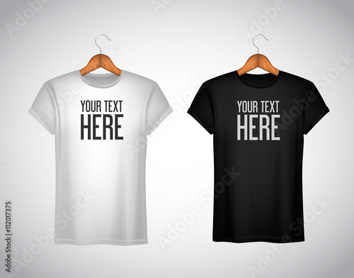 Czarno-biała koszulka męska. Realistyczne makieta odrobina marki fo