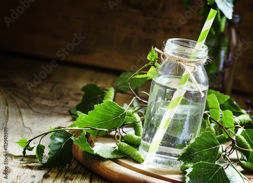 Birch sap, wood background, rustic style, selective focus - 112048309