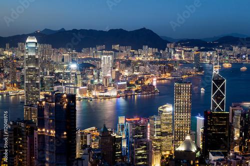 Poster, Tablou Hong Kong Victoria Harbor Skyline at Night