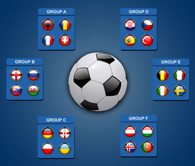 Flags of football teams, icons for soccer game championship.
