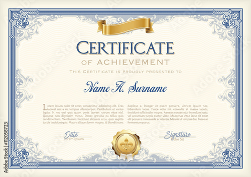certificate of achievement vintage frame with gold ribbon landscape