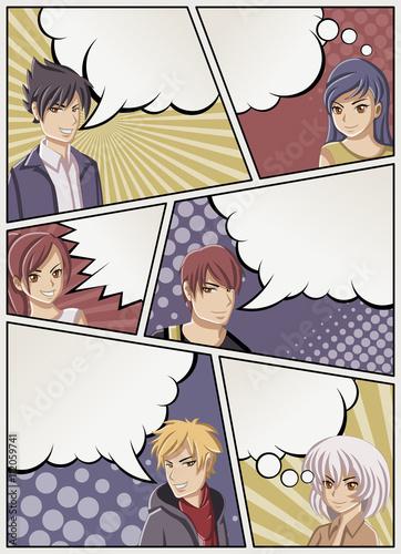 strona-komiksu-z-ludzmi-mowiacymi-komiks-tlo-z-dymki-nastolatki-z-anime-manga